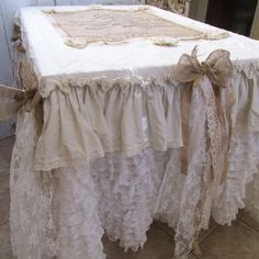 Tablecloth runner shabby farm house vintage burlap ruffles and lace white linen petticoat style handmade piece by anita spero