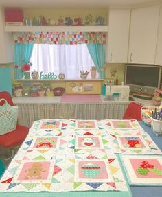 Lori's perspective of her sewing room from her ironing/cutting table creating the Cozy Christmas Quilt.