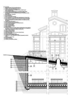 Detalle constructivo de reforma de edificio para Hotel-Restaurante (3) Floor Plans, Diagram, Arquitetura, Restaurant, Buildings, Floor Plan Drawing, House Floor Plans