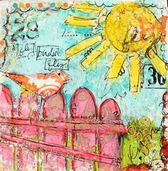 Behind the Art Fly Birdie Fly (video tutorial) by Christy Tomlinson Art Journal Pages, Art Journals, Mixed Media Canvas, Mixed Media Collage, Moleskine, Mix Media, Art Altéré, Art Du Collage, Art Journal Inspiration