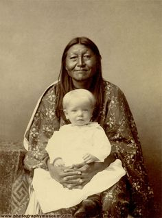 Native American with Blonde Baby, albumen print on cabinet card mount(4.25x6.5in.), after 1885   Daguerre's American Legacy, p. 168; included in MIT Museum exhibition: Also…