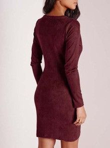 Burgundy Bodycon Dress Long Sleeve V Neck Holiday Party Dress