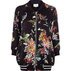 Black floral print bomber jacket €80.00