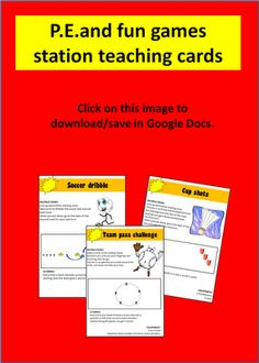 A Crucial Week: GIVEAWAY: PE and fun games station teaching cards