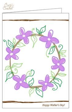 Crochet flower wreath card illustration