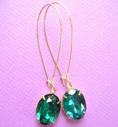 Emerald Green Dangle Earrings in Gold like by RachellesJewelryBox, $28.00