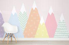 Kids Pastel Patterned Mountains Wallpaper Mural - Murals Wallpaper