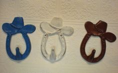 Set of THREE: Cowboy Hat Wall Hook/Pick your Colors/ Horseshoe/ Nursery /Country/ Western / Distressed Cast Iron / Painted/Rustic/Lodge on Etsy, $25.99