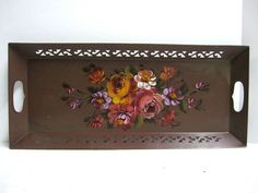 Large Toleware Mauve Plum Hand Painted Floral Carved Serving Tray Double Handle