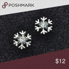 2 for $12 Silver toned snowflake stud earrings Brand new clear crystal stud earrings. Available in silver and gold colors Jewelry Earrings