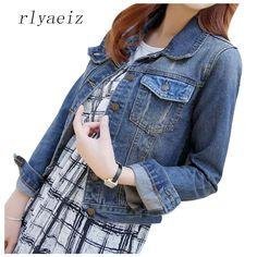 >> Click to Buy << RLYAEIZ New Arrivals Denim Jacket Women 2017 Spring Jeans Jacket Long Sleeve Denim Coats Autumn Short Basic Jackets Plus Size #Affiliate