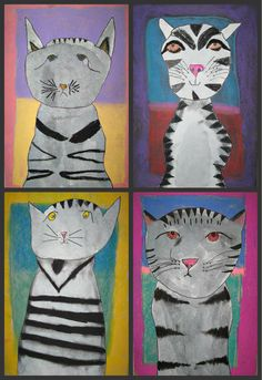 My 6-9 year old group created their gray tabby cats first using watercolor and charcoal. For a background twist, they looked at Mark ...