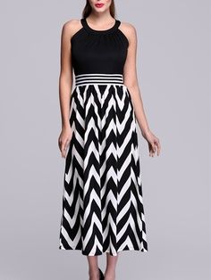 Designed Round Neck  Striped Maxi-dresses Maxi Dresses from fashionmia.com