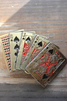 Vintage Belt Buckle -Mens Father's Day Gift Hand of Cards Retro Belt Buckle. $25.00, via Etsy.