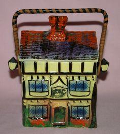 Vintage Hand Painted Royal Winton Cottage Ware Biscuit Barrel. GC.