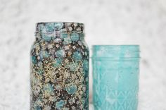 Old mason jar, fabric and a little mod podge.  So cute.  Time to start saving those spaghetti sauce jars!
