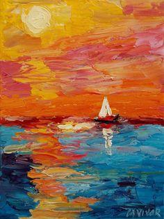 Mona Vivar Abstract Seascape Sail Boat Ocean Impasto Acrylic Impressionist Art