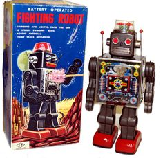 Horikawa Japan Fighting Robot Tin Toy with Gears Battery Operated Space Toy #Horikawa