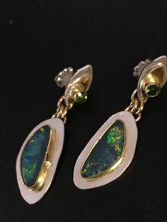 Austrailian Opal earrings Tsavorite Earrings 14k gold