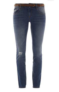 Skinny jeans met scheuren en riem