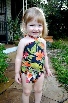 Girls Bathing Suit Tropical Floral Print Wrap Around Bikini One Size Swimwear Infant Swimwear Newborn Swimsuit to Toddler 3 hisOpal Baby