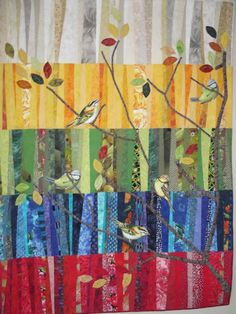 """All a Flutter'' by Judy Crane. String quilt in panels of colour with broderie perse birds as a design element. Bird Quilt, Tree Quilt, Quilt Art, Quilting Projects, Quilting Designs, Quilting Ideas, String Quilts, Art Textile, Landscape Quilts"