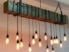 Barn beam chandelier @7mwoodworking  #design #interior #industrial #wood…