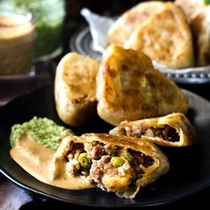 Snack sized Beef Stuffed Godhamba roti, a popular Sri Lankan snack, perfect for appetizers or parties