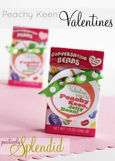 Peachy Keen Jellybean Valentines {Free Printable} - Positively Splendid {Crafts, Sewing, Recipes and Home Decor} Homemade Valentines, Valentine Day Crafts, Be My Valentine, Holiday Crafts, Valentine Ideas, Holiday Fun, Holiday Ideas, Festive, Valentines Card Holder