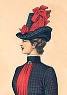 Bustle period hat: These hats were usually nicely decorated with bows and feathers.