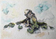 30 X 42 cm. - 640 g. paper /watercolor, color pencils, ink - mainly greenish colors