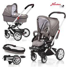 Ein wendiger und trendiger Kinderwagen für den Spaziergang mit den Neugeborenen >> Hartan VIP XL Kinderwagen mit Tragetasche und Sportwagenaufsatz
