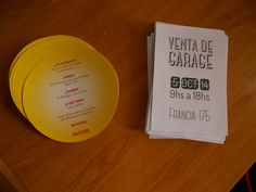 Invitación primer año y  folleto venta de garage. Bahía Blanca, Buenos Aires, Argentina. 2014