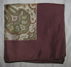 Vintage Square Silk Liberty of London Scarf - Brown with Paisley Pattern - Green, Cream Classic Paisley Pattern