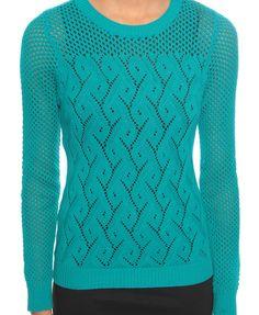 Turquoise diamond knit sweater