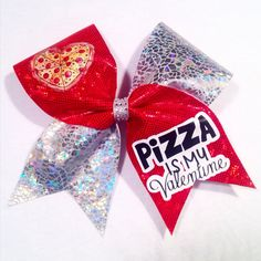Pizza Is My Valentine Cheer Bow by ChampionCheerBows on Etsy Cute Cheer Bows, Big Bows, Cheerleading Bows, Cheer Outfits, Nike Pros, Be My Valentine, Getting Old, Softball, Emoji