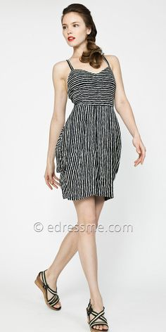 Striped Cut-out Day Dresses -black and white for spring