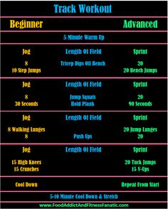 Track Workout - Options for beginner and advanced.  Running and body weight exercises.