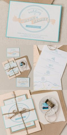 Vintage Nautical Wedding Stationery. With banners, fun fonts and quirky illustrations. Perfect for any vintage alternative wedding, also the nautical theme makes this perfect for holiday weddings too. Part of the 'VINTAGE BANNER' collection by Paper Date