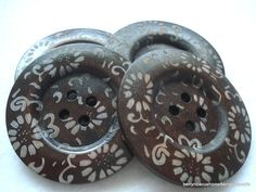 Large 60mm Dark Wood Coat Buttons Pack of 4 Extra Large Etched Buttons £2.00 #folksy #buttons #folksysupplies