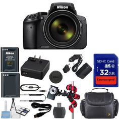 Nikon Coolpix P900 Wi-Fi 83x Zoom Digital Camera + Extra Replacement Battery + Original Accessories + Extremespeed 32GB Commander Memory + Spider Flexible Tripod + Deluxe Carrying Case + 12pc Bundle. This Celltime Camera Package comes full with all manufacturer accessories and 1-Year Celltime Warranty, and Includes:. Nikon Coolpix P900 Wi-Fi 83x Zoom Digital Camera - International Model. Extremespeed 32GB High Speed Memory Card, High Speed Memory Card Reader, Flexible spider tripod…