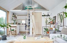 Villa style town homes in Stockholms Husarviken Bay Compact Living, Tiny Living, Home And Living, Cafe Interior, Interior Design, Beautiful Small Homes, Swedish House, Tiny House Design, Scandinavian Home