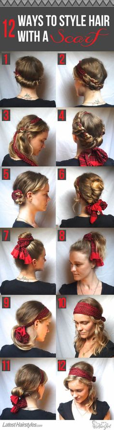 I like all of them except for 6,7 & 8. Some people have such an imagination! I would never have thought of doing all these hairstyles with a scarf.  http://www.latest-hairstyles.com/tutorials/chic-ways-to-style-hair-with-a-scarf.html