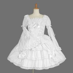 White Long Sleeves Lace Bows Lovely Sweet Lolita Dress