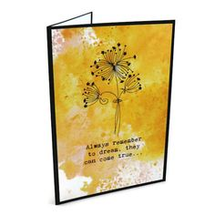 Dandelion Card Orange Blank by lillysnightgarden on Etsy, £2.50