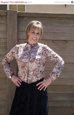 Long Sleeve Brown Floral Blouse