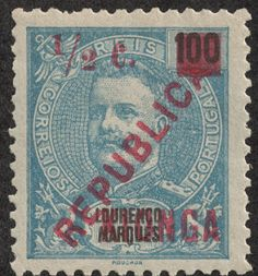 "Kionga  May 29, 1916 Scott 1 1/2c on 100r blue on blue ""Kionga"" red overprint/surcharge  on Lourenco Marques Stamp"