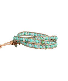 This Turquoise & Clear Leather Wrap Bracelet is perfect! #zulilyfinds