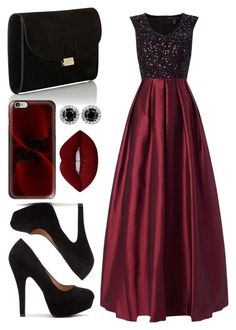 Formal - Deep Red by chameleonofdoom on Polyvore featuring polyvore, fashion, style, Aidan Mattox, Mansur Gavriel, Casetify, Lime Crime, clothing, Prom, formal and fancy