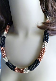 Eye-catching tri color beaded Kumihimo necklace, statement necklace, holiday gift suggestions by TheBeckoningCat on Etsy